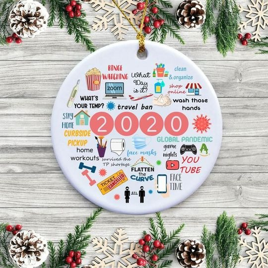 2020 Annual Events Stay Home Binge-watching zoom Christmas Ornament 2