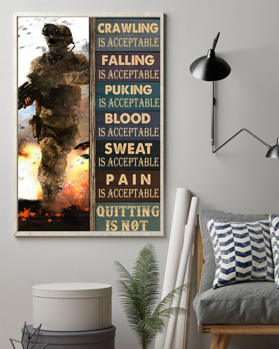 Crawling Falling Is Acceptable Quitting Is Acceptable Puking Is Acceptable Quitting Is Not Poster1
