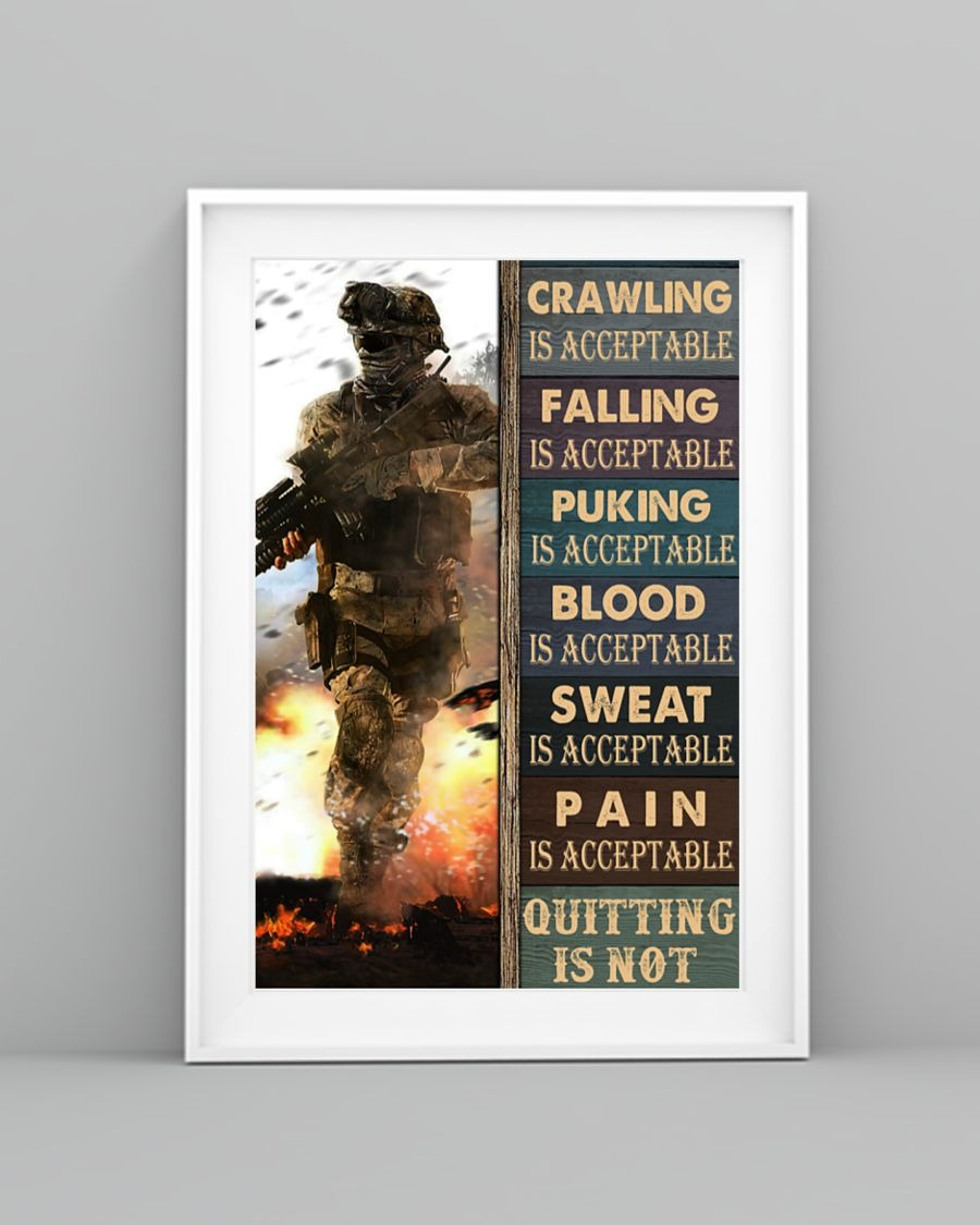 Crawling Falling Is Acceptable Quitting Is Acceptable Puking Is Acceptable Quitting Is Not Poster3