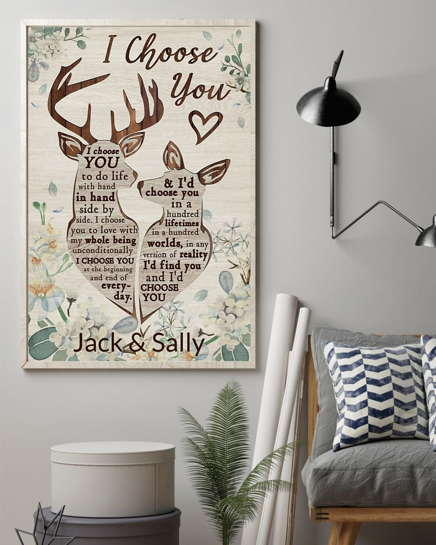 Deer I Choose You To Do Life With Hand In Hand Side By Side Personalized Poster1