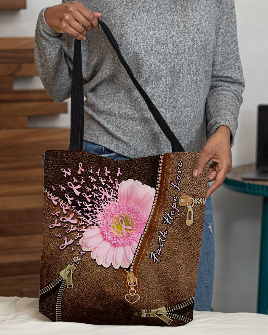 Faith Hope Love Breast Cancer Awareness Leather Zipper Tote Bag