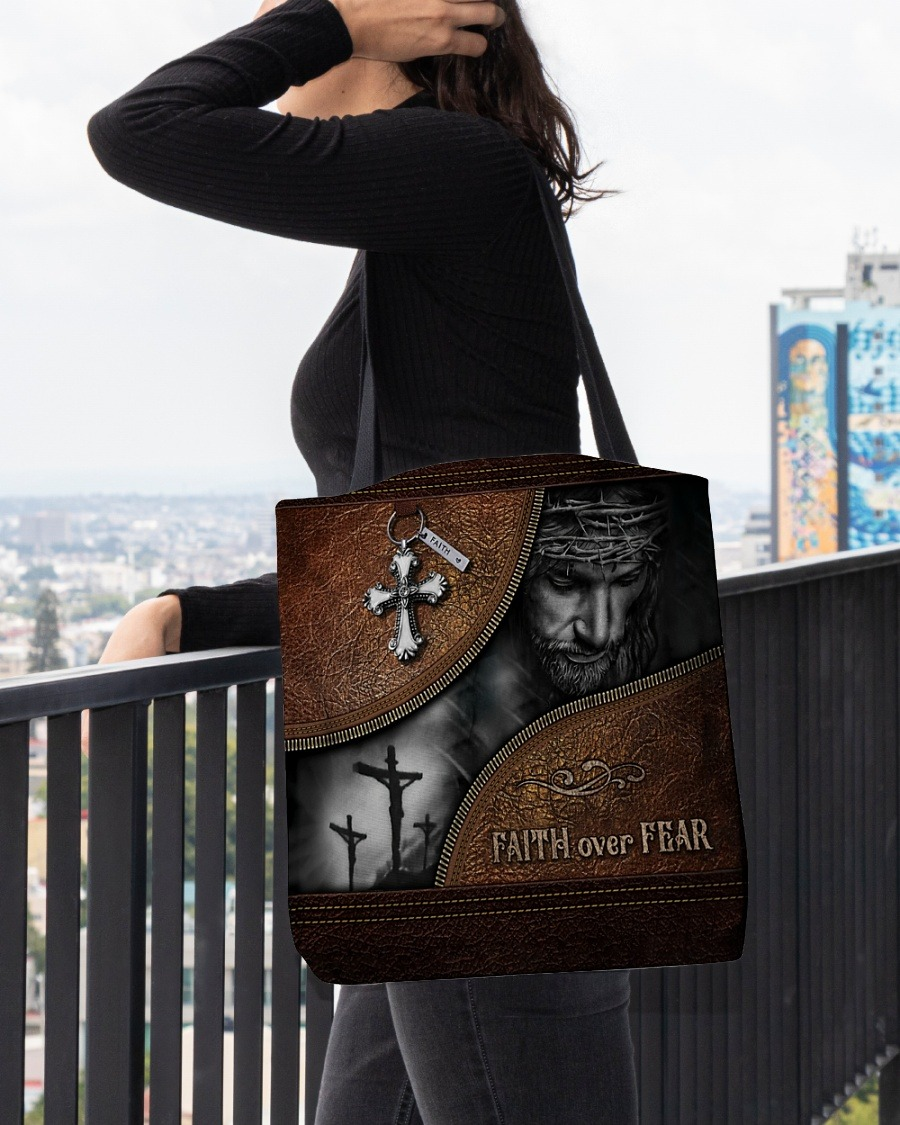 Faith Over Fear Christ Leather Pattern Tote Bag2