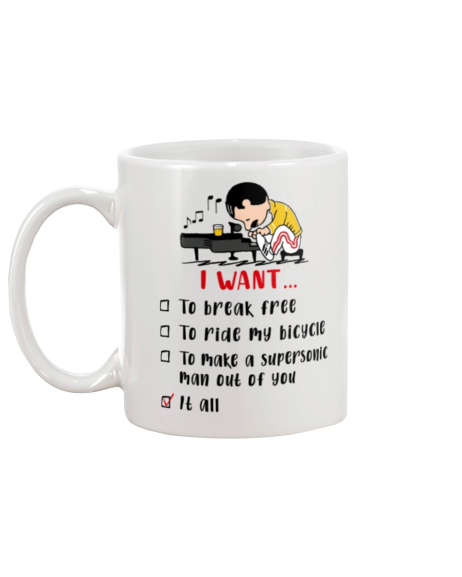 I want to break free to ride my bicycle to make a supersonic man out of you it all mug 2