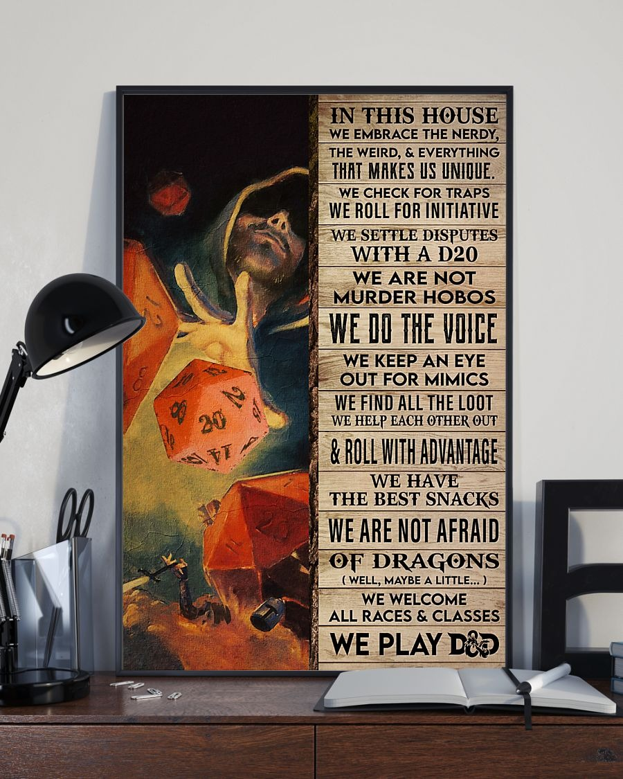 In This House We Embrace The Nerdy The Weird And Everything That Makes Us Unique Dungeons & Dragons Poster2