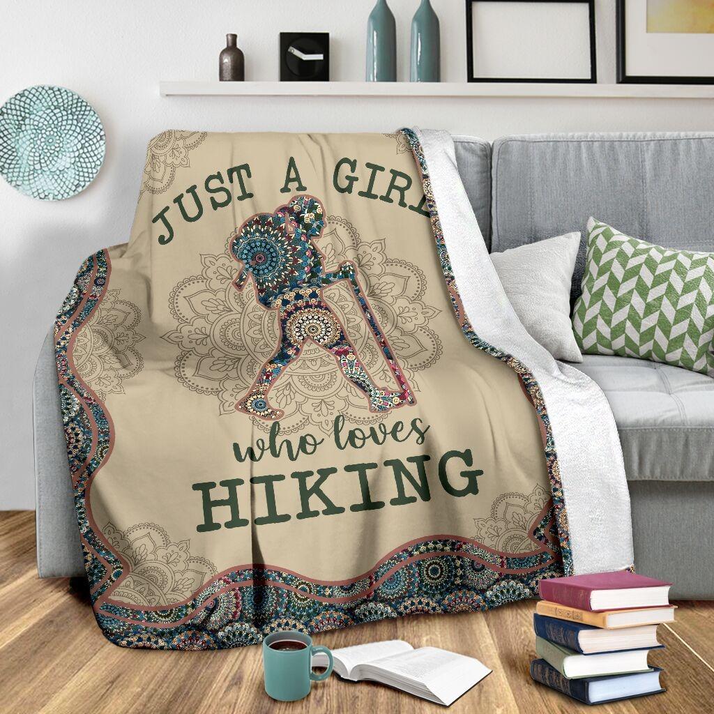 Just A Girl Who Loves Hiking Fleece Blanket 1
