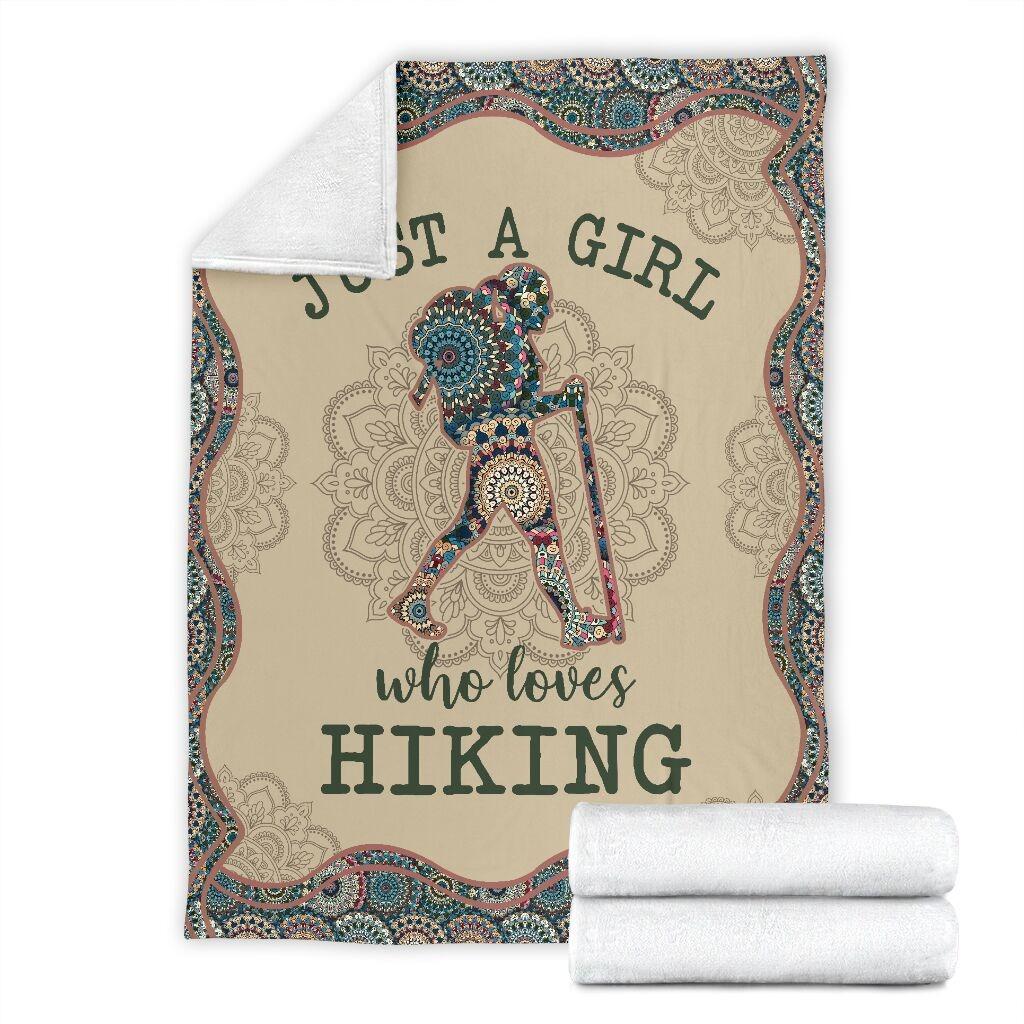 Just A Girl Who Loves Hiking Fleece Blanket 3