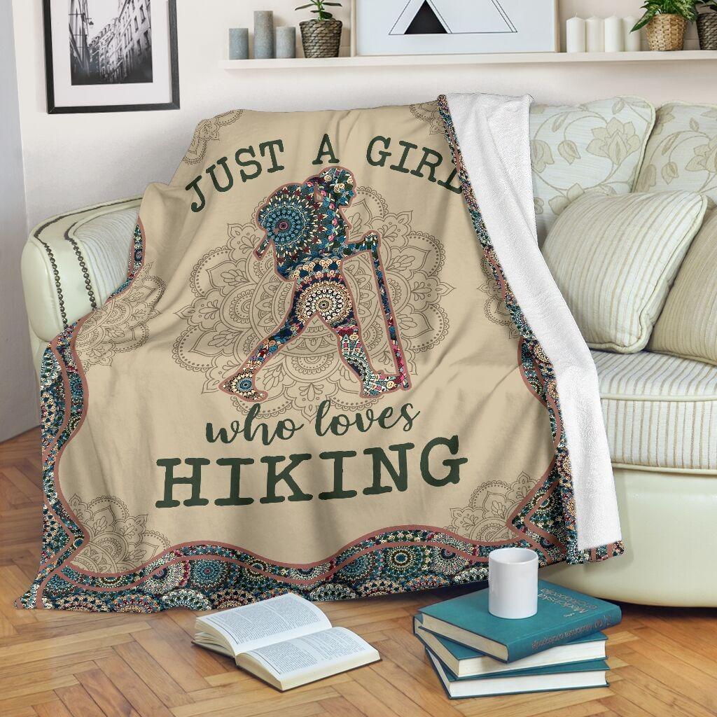 Just A Girl Who Loves Hiking Fleece Blanket