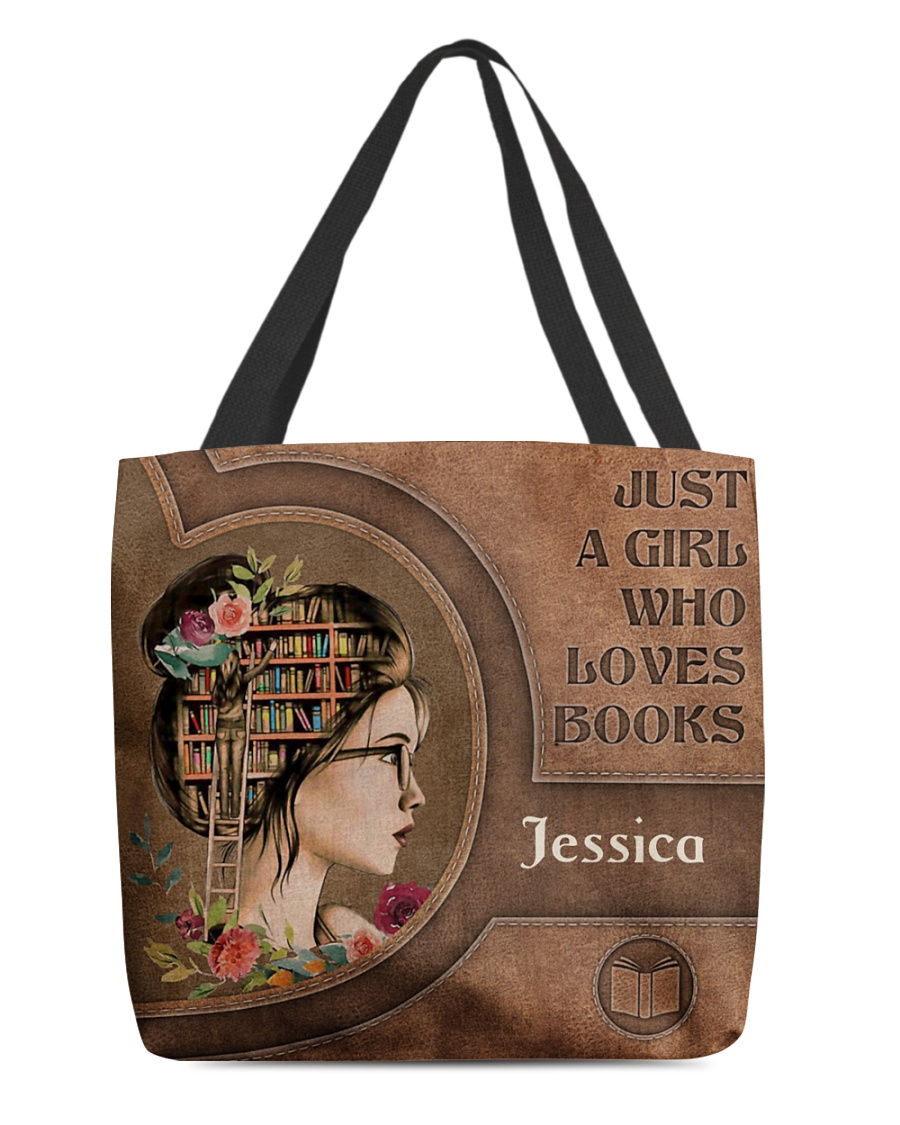 Just a girl who loves books personalized tote bag 1