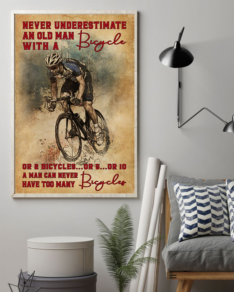 Never Underestimate An Old Man With A Bicycle Poster 2