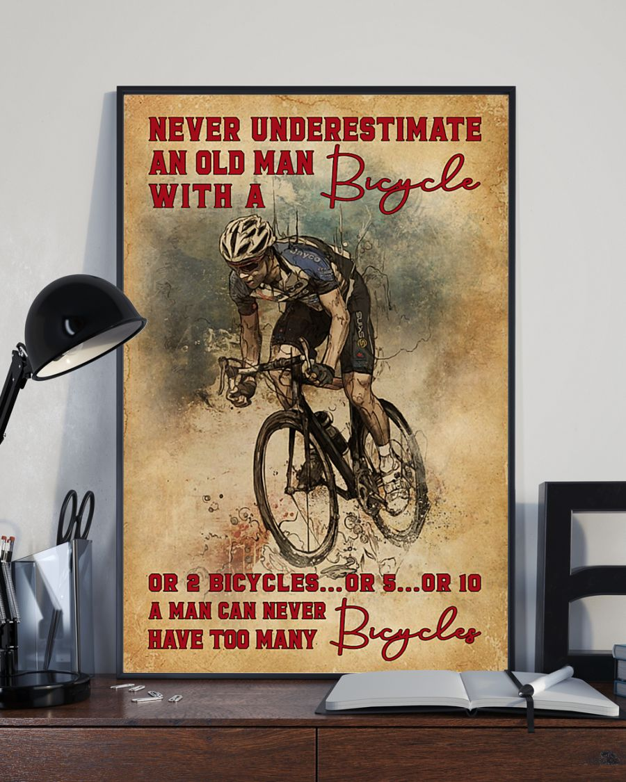 Never Underestimate An Old Man With A Bicycle Poster 3