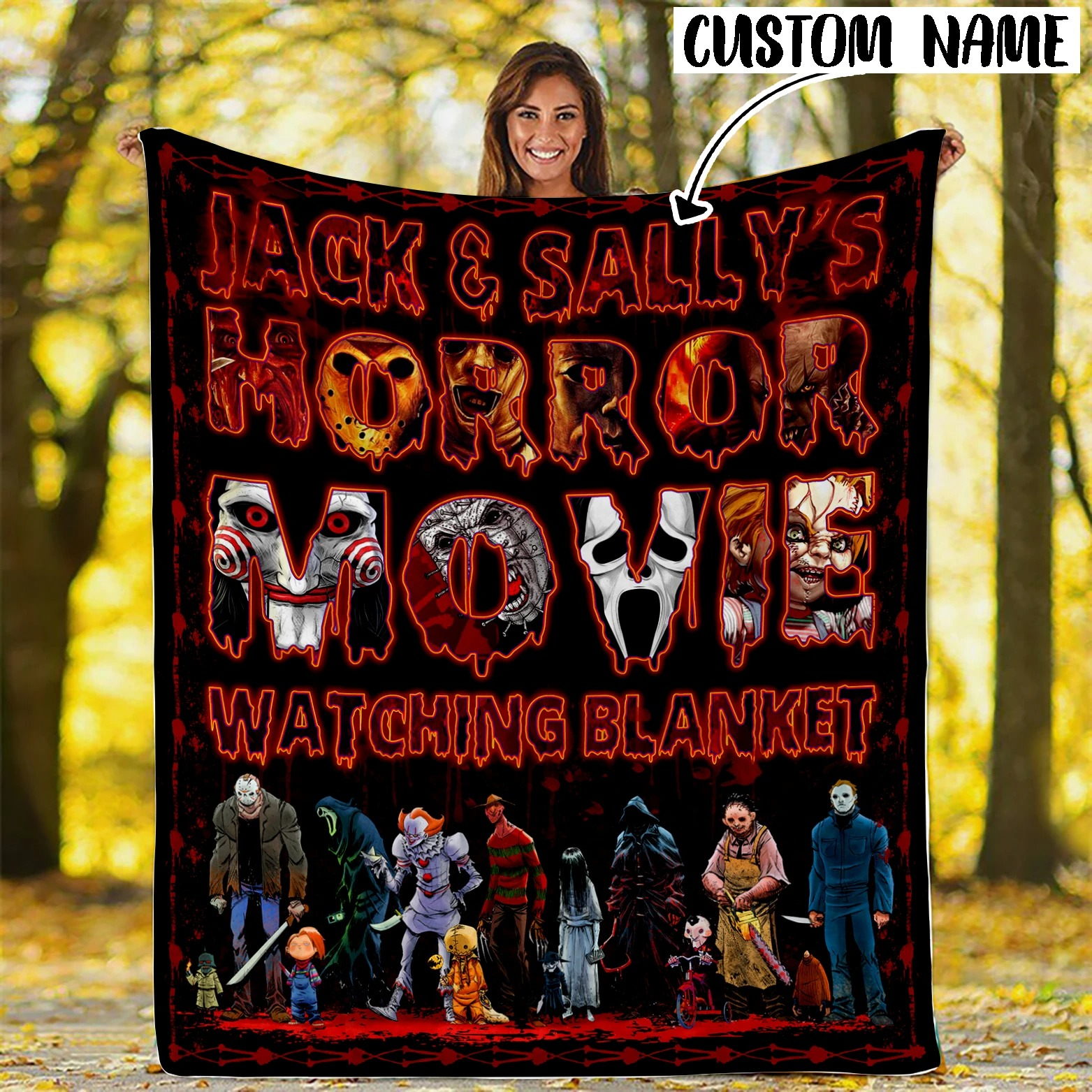 Personalized Horror Movie Watching Blanket