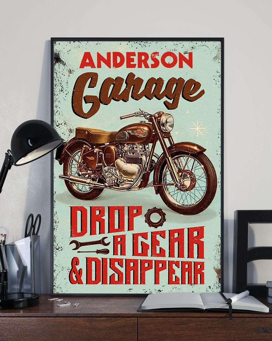 Personalized Motorcycle Garage Drop A Gear And Disappear Poster2