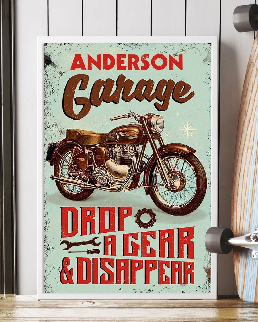 Personalized Motorcycle Garage Drop A Gear And Disappear Poster3