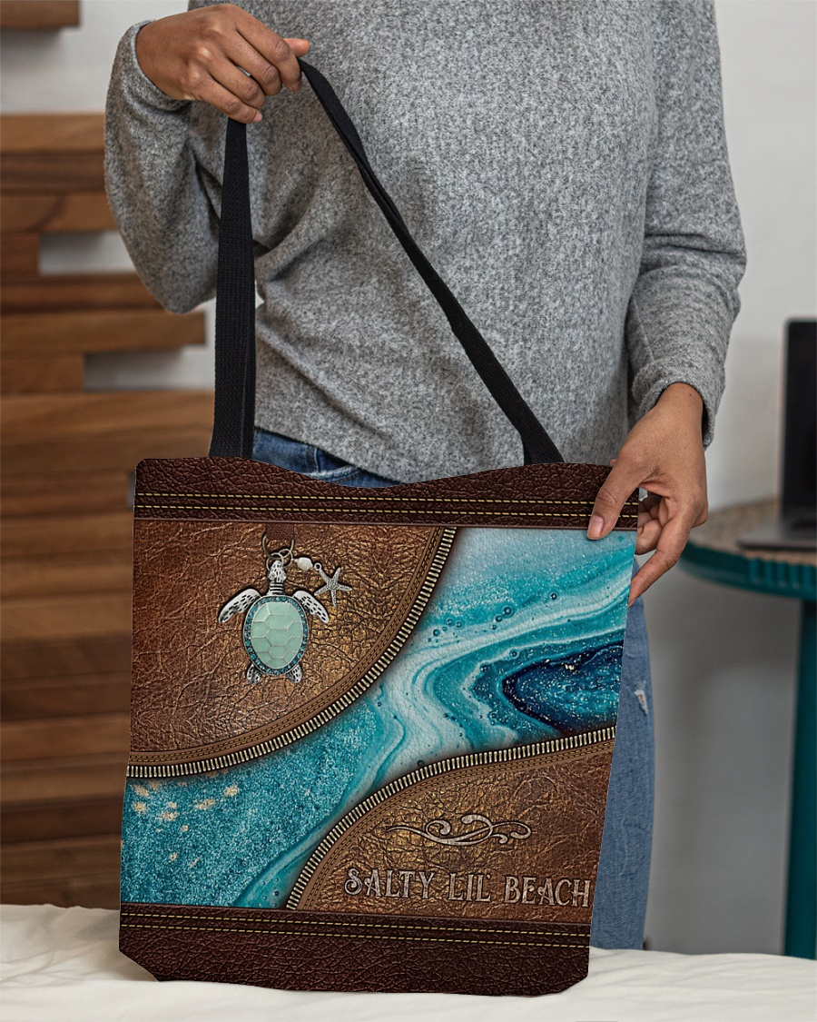 Salty Lil' Beach Leather Pattern Tote Bag 1