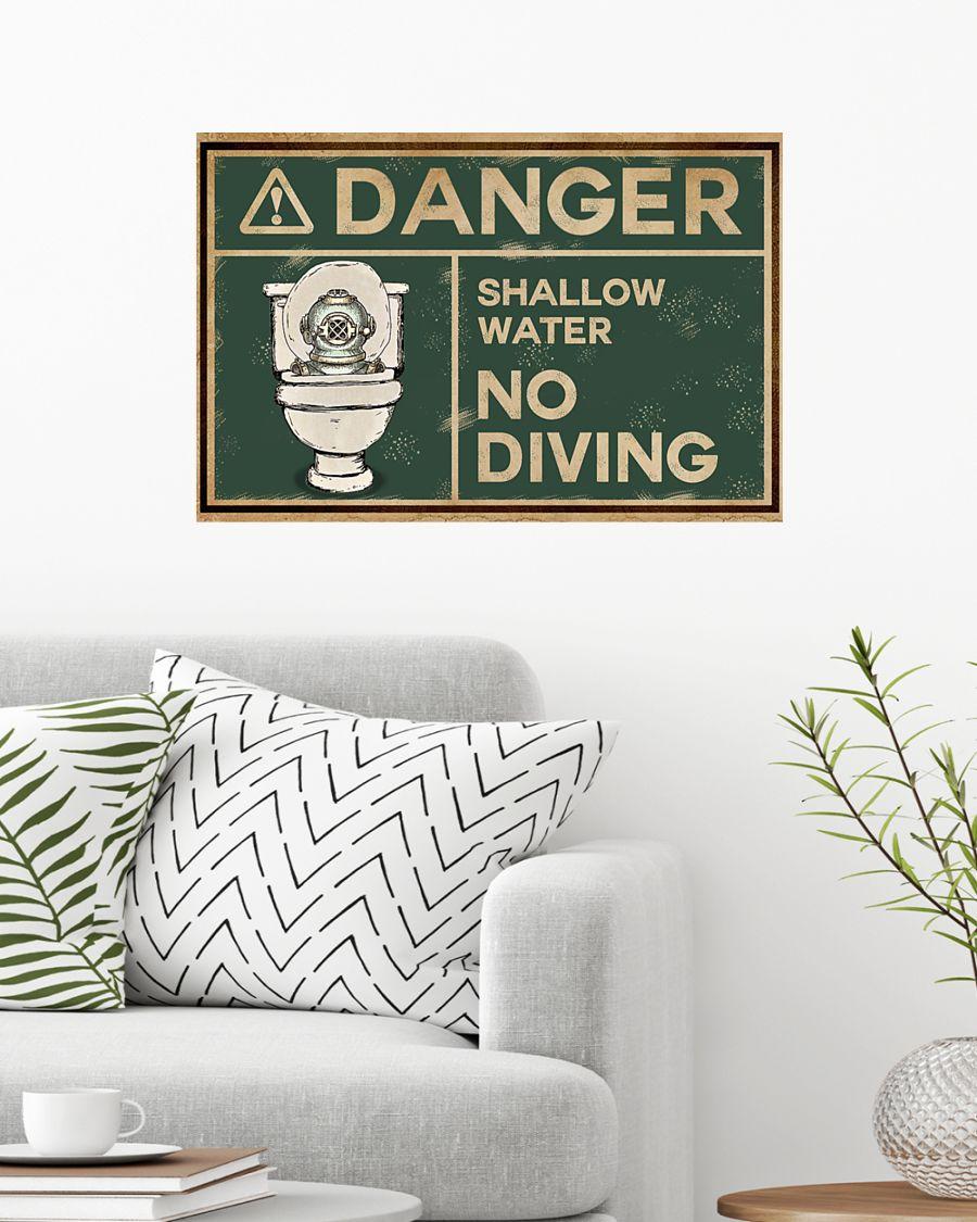 Scuba Diver Danger Shallow Water No Diving Restroom Poster 2