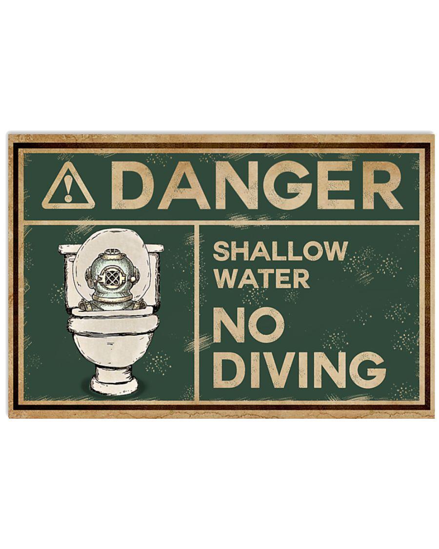 Scuba Diver Danger Shallow Water No Diving Restroom Poster
