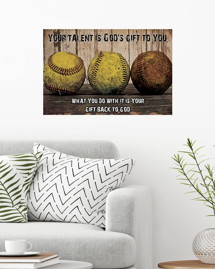 Softball Your Talent Is God's Gift To You What You Do With It Is Your Gift Back To God Poster1
