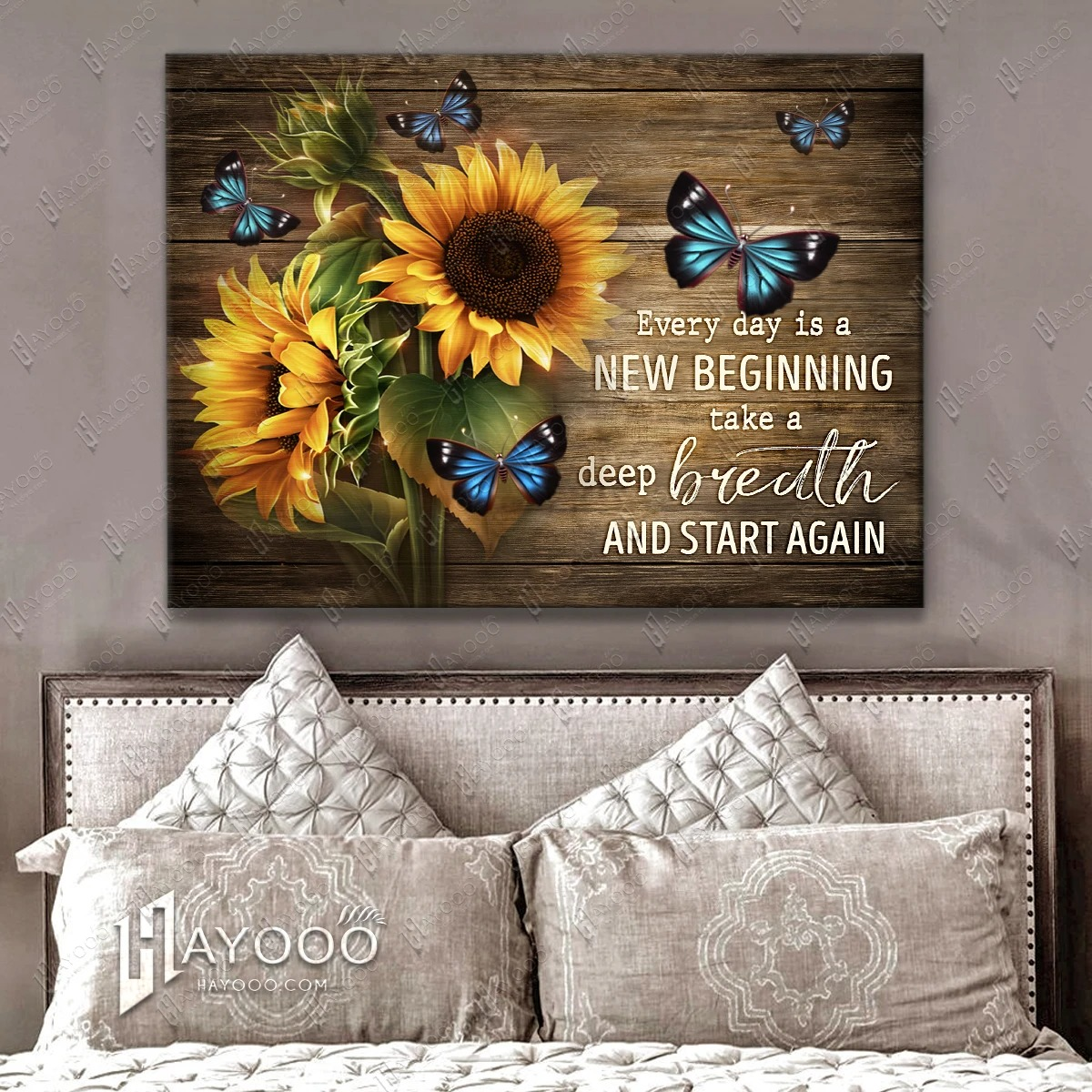 Sunflower and butterfly Everyday is a new beginning take a deep breath smile and start again gallery wrapped canvas 4