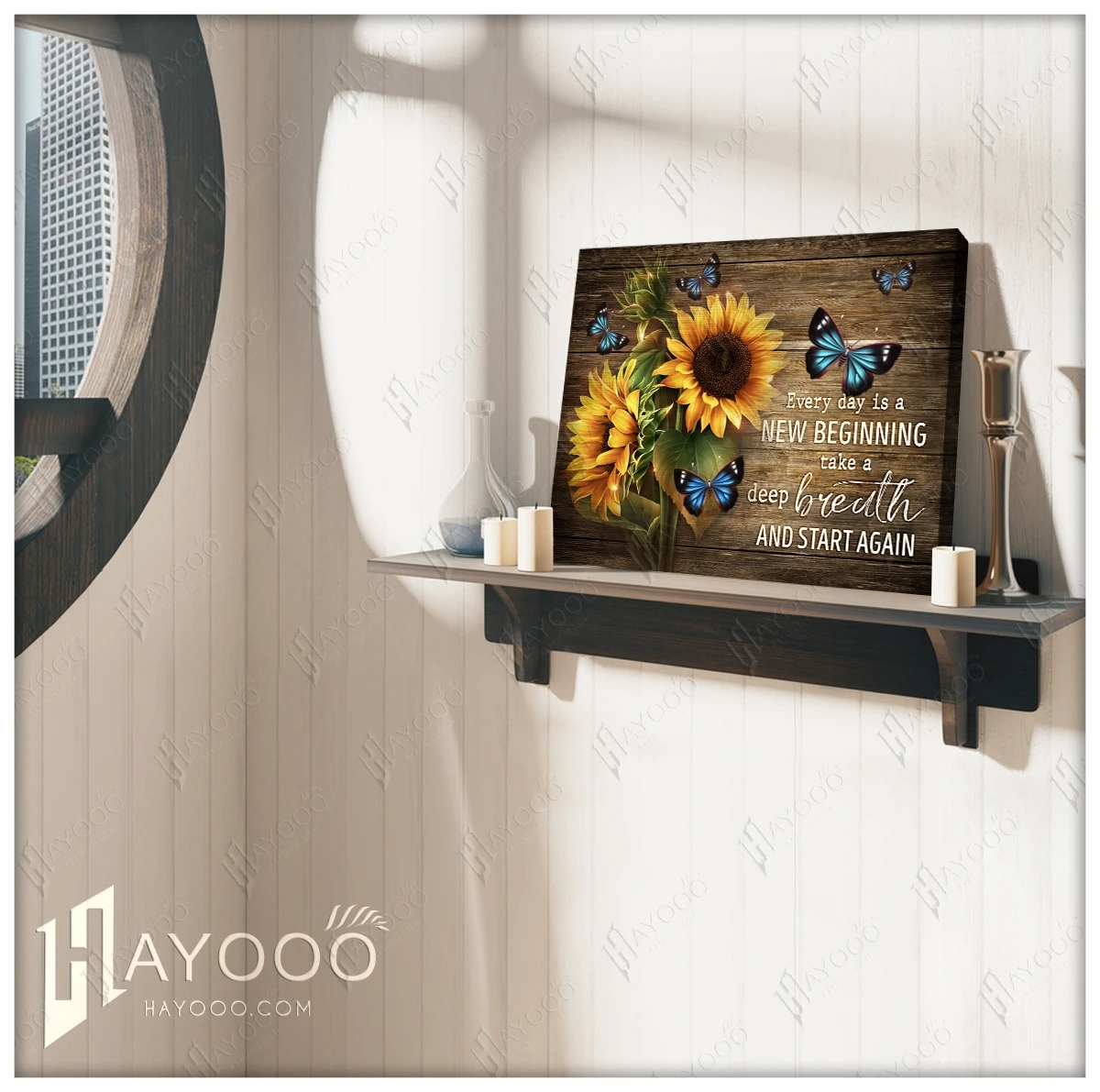 Sunflower and butterfly Everyday is a new beginning take a deep breath smile and start again gallery wrapped canvas 7