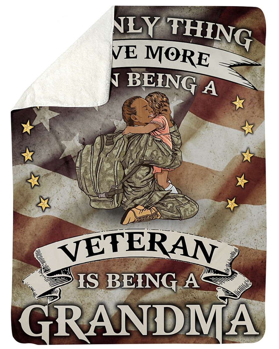 The Only Thing I Love More Than Being A Veteran Is Being A Grandma Fleece Blanket 1