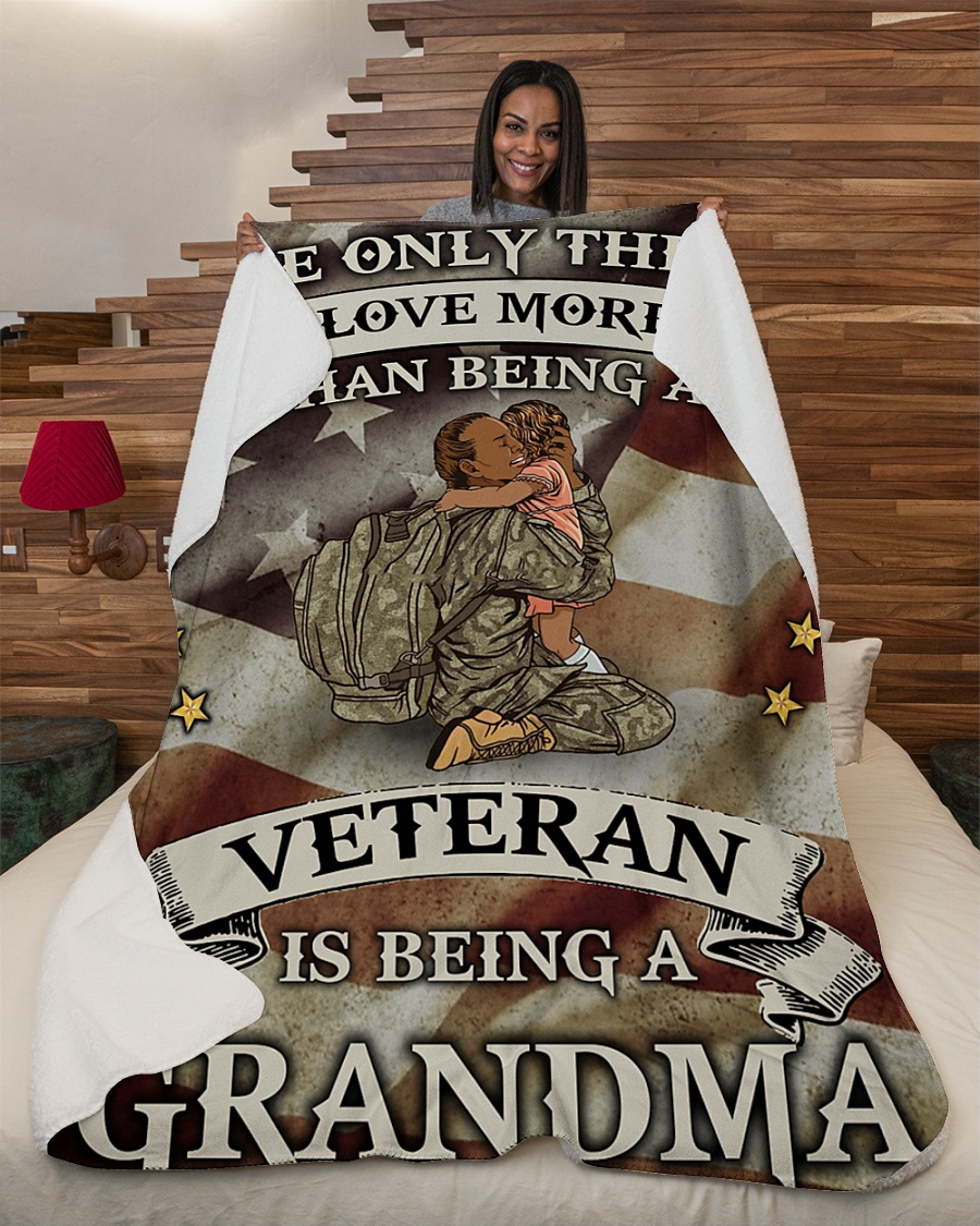 The Only Thing I Love More Than Being A Veteran Is Being A Grandma Fleece Blanket 2