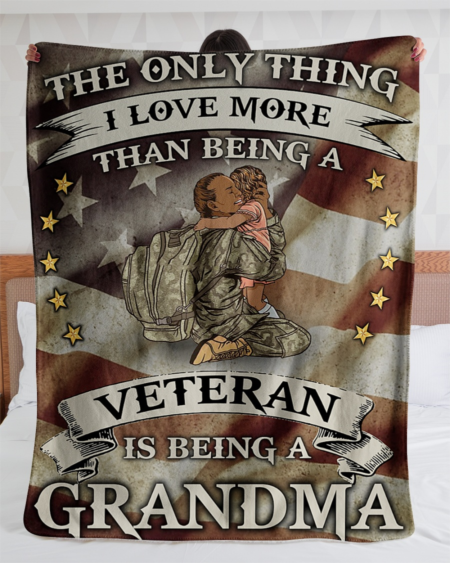The Only Thing I Love More Than Being A Veteran Is Being A Grandma Fleece Blanket 3