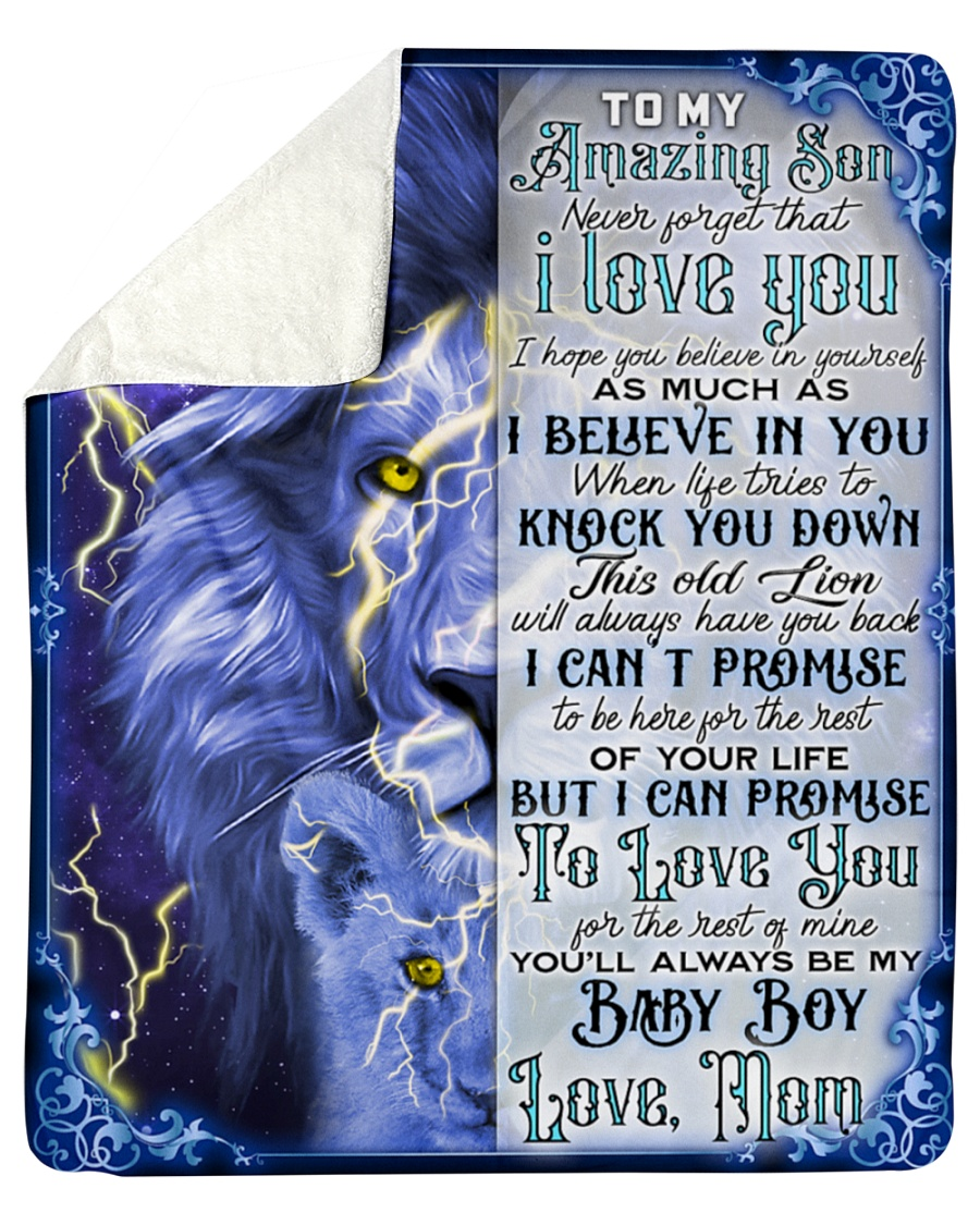 To My Amazing Son Never Forget That I Love You Lion Fleece Blanket 1