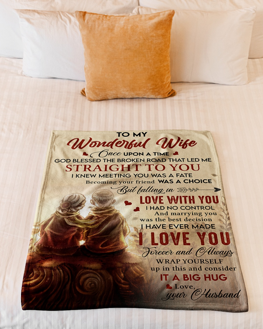 To My Wonderful Falling In Love With You I Had No Control Husband Fleece Blanket 3