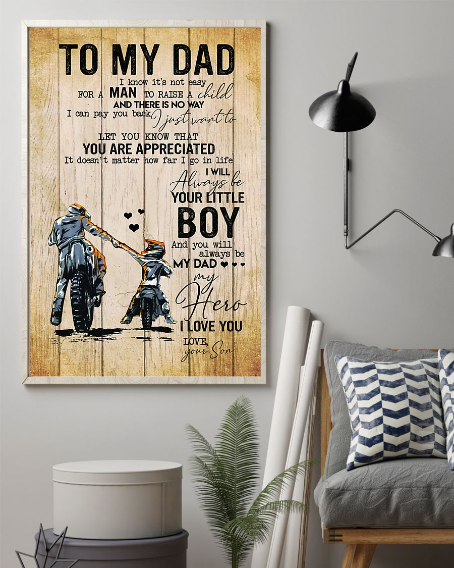 To my dad I know it's not easy for a man to raise a child Racing boy poster 2