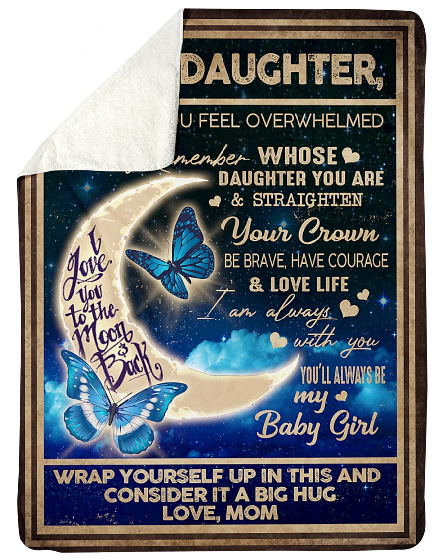 To my daughter I love you to to the moon and back butterfly fleece blanket 2