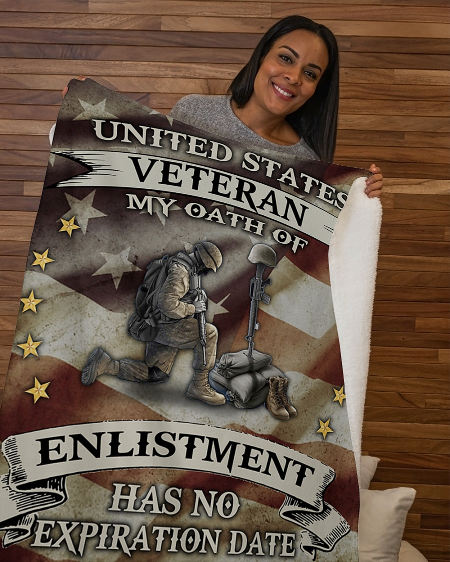 United States Veteran My Oath Of Enlistment Has No Expiration Date Fleece Blanket 3
