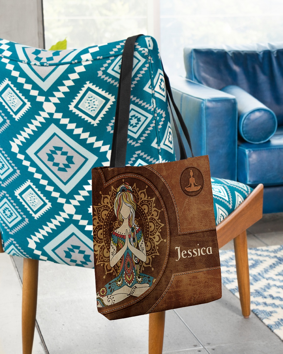 Yoga Girl Leather Pattern Personalized Tote Bag 1