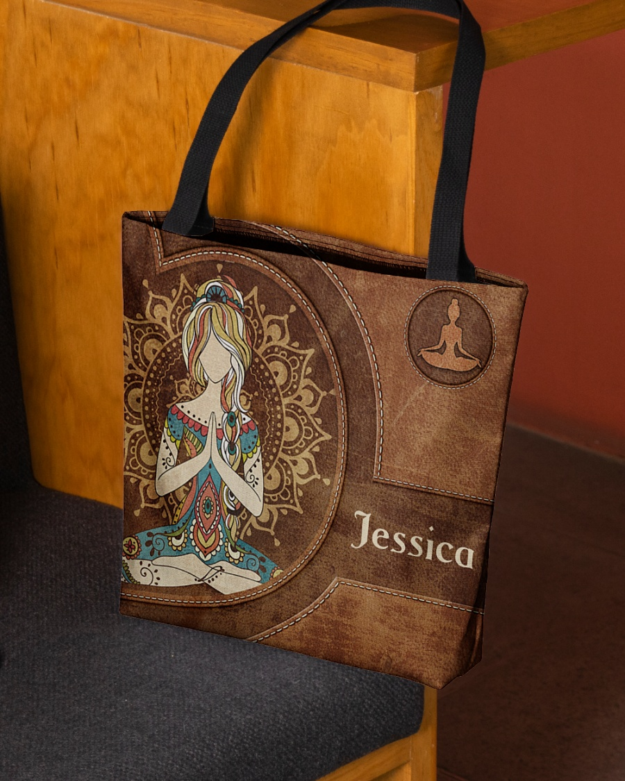 Yoga Girl Leather Pattern Personalized Tote Bag 2