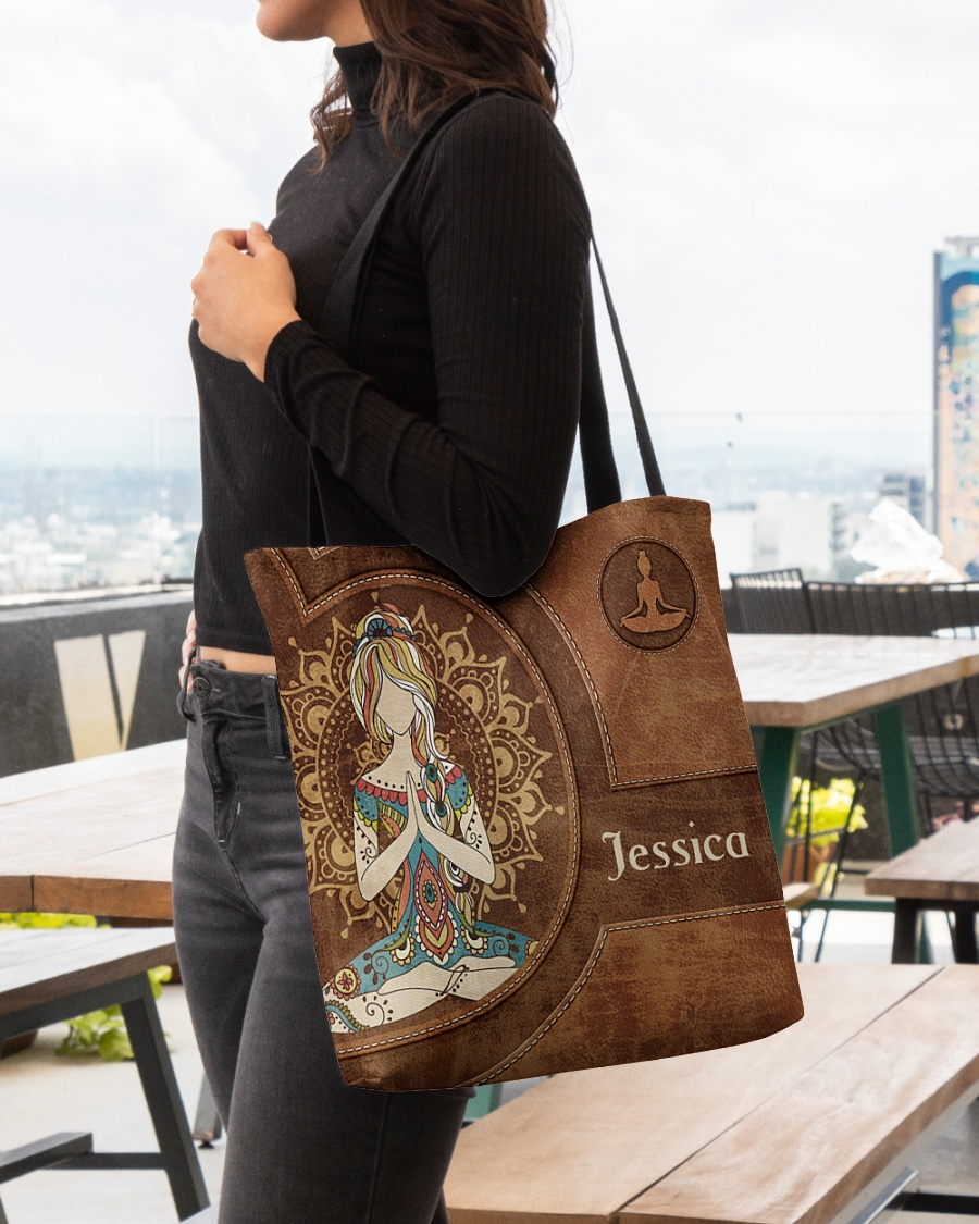 Yoga Girl Leather Pattern Personalized Tote Bag 3