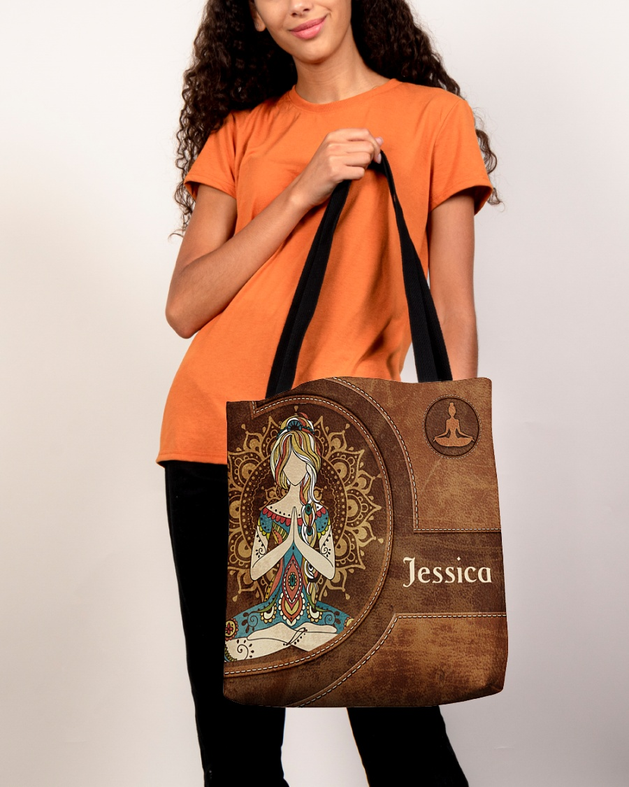 Yoga Girl Leather Pattern Personalized Tote Bag 5