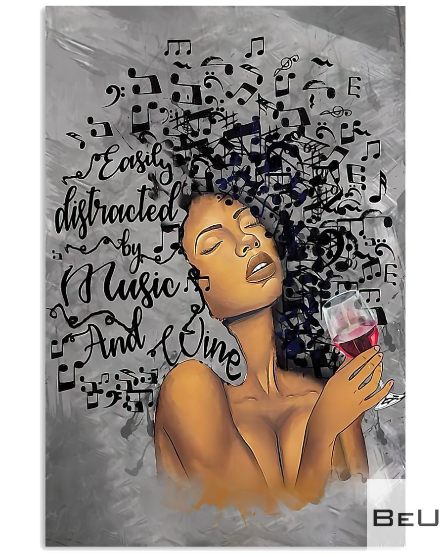 African American Girl Easily distracted by music and wine poster_result