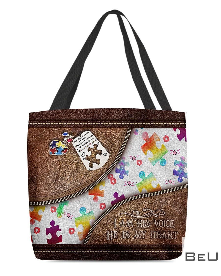 Autism I'm His Voice He's My Heart Leather Pattern Tote Bag