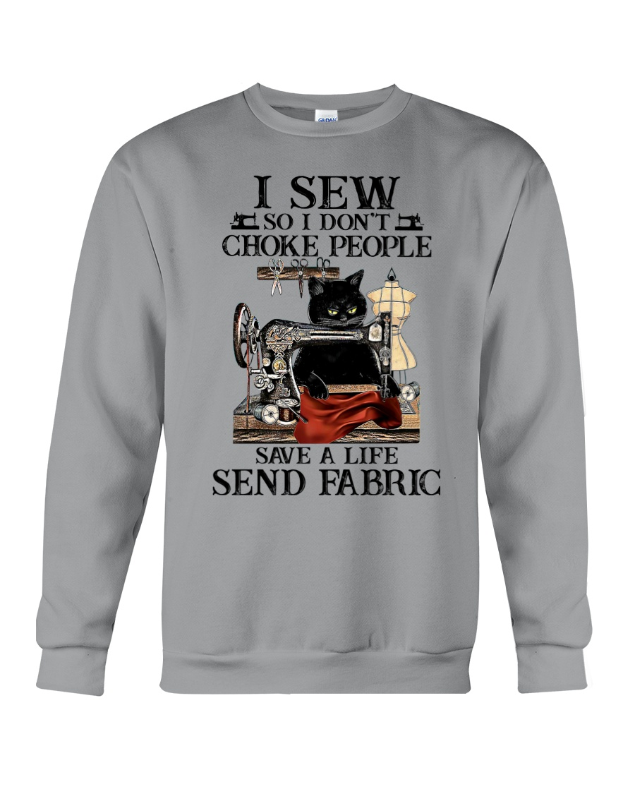 Cat I sew so I don't choke people save a life send fabric hoodie