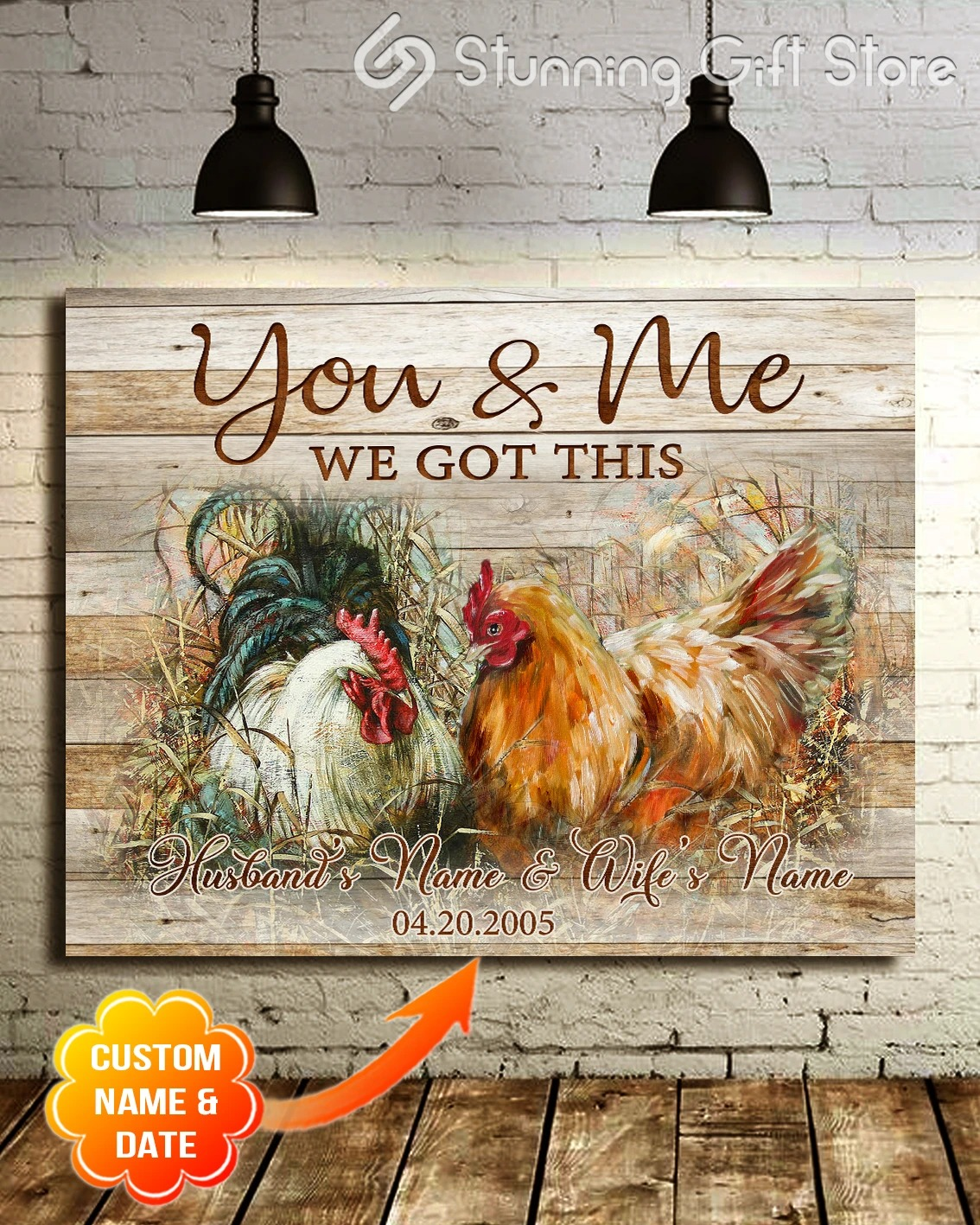 Chicken Farmhouse You And Me We Got This personalized wrapped gallery canvas