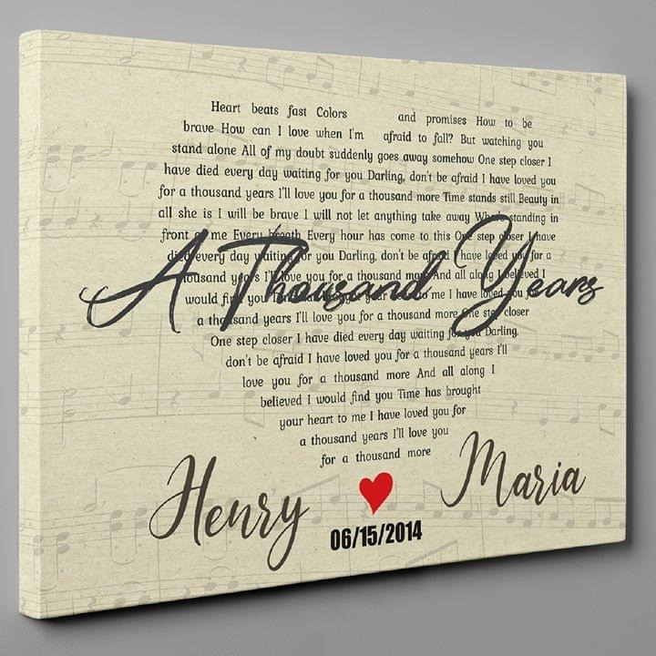 Christina Perri – A Thousand Years Lyrics Personalized Gallery Wrapped Canvas
