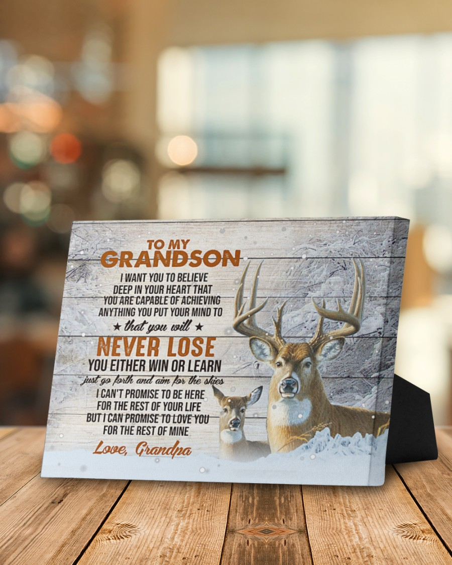 Deer To my grandson I want you to believe deep in your heart that you are capable of achieving anything gallery wrapped canvas1