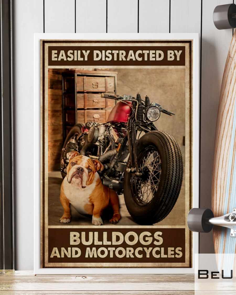 Easily Distracted By Bulldogs And Motorcycles Poster 1_result