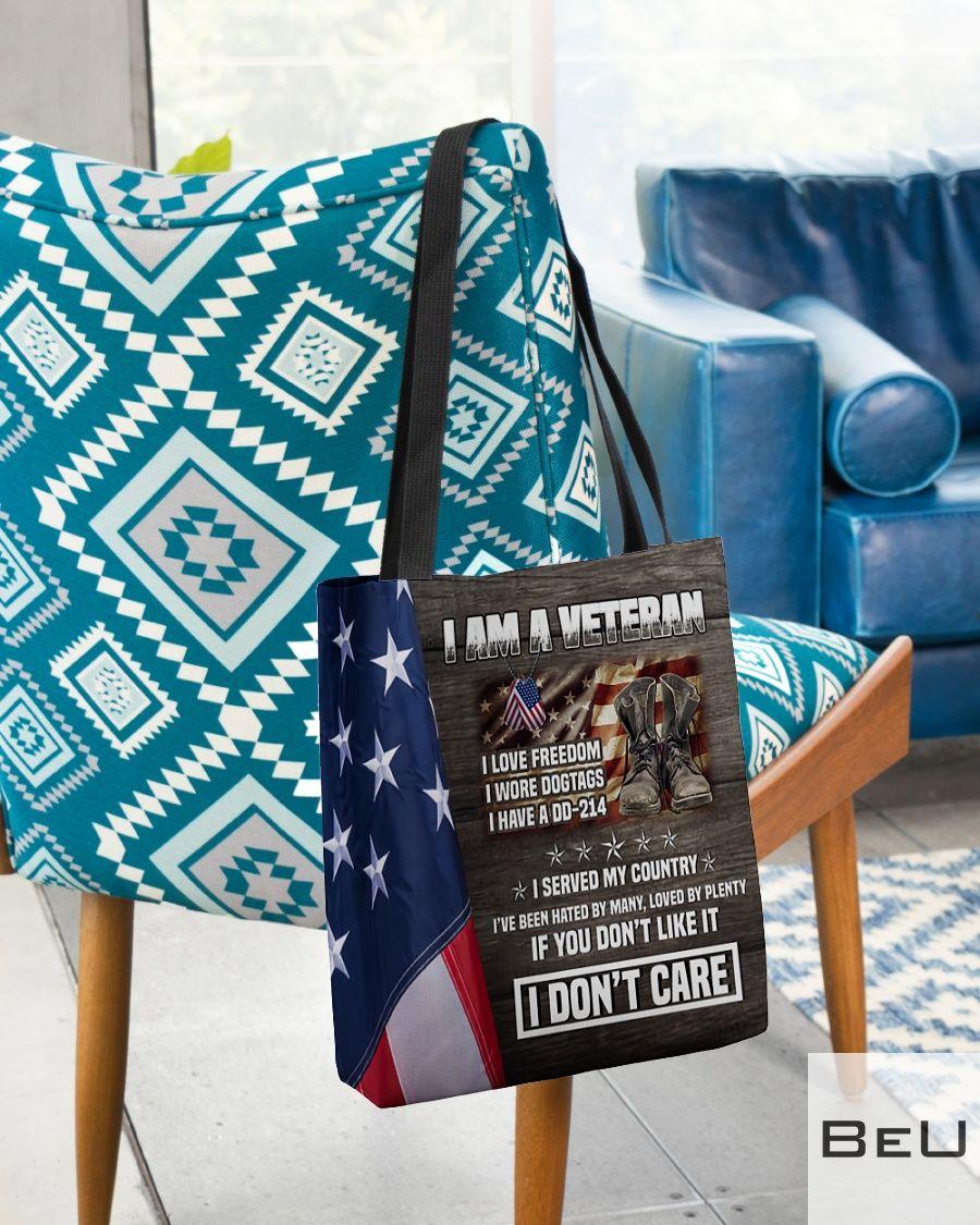 I am a veteran I love freedom I wore dog tags I have a DD-214 tote bag2