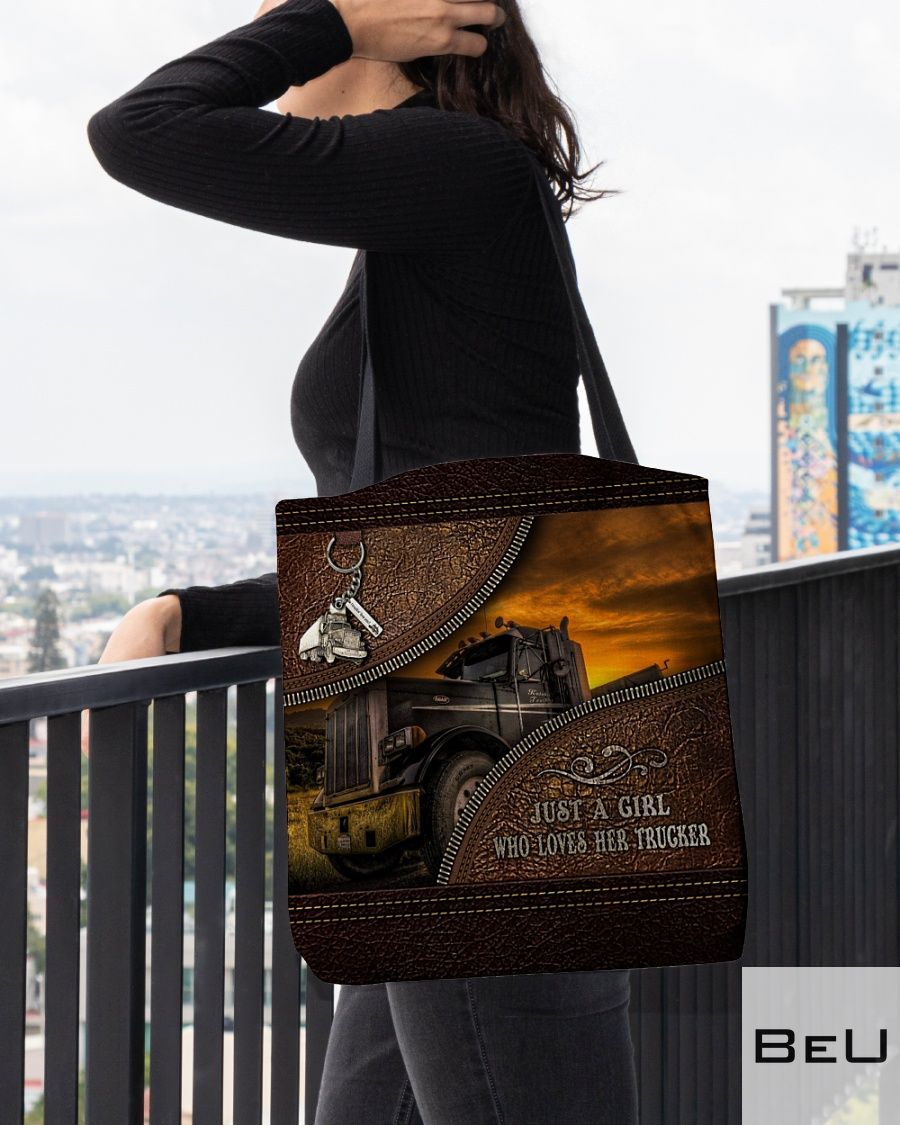 Just a girl who loves her trucker as leather tote bag3