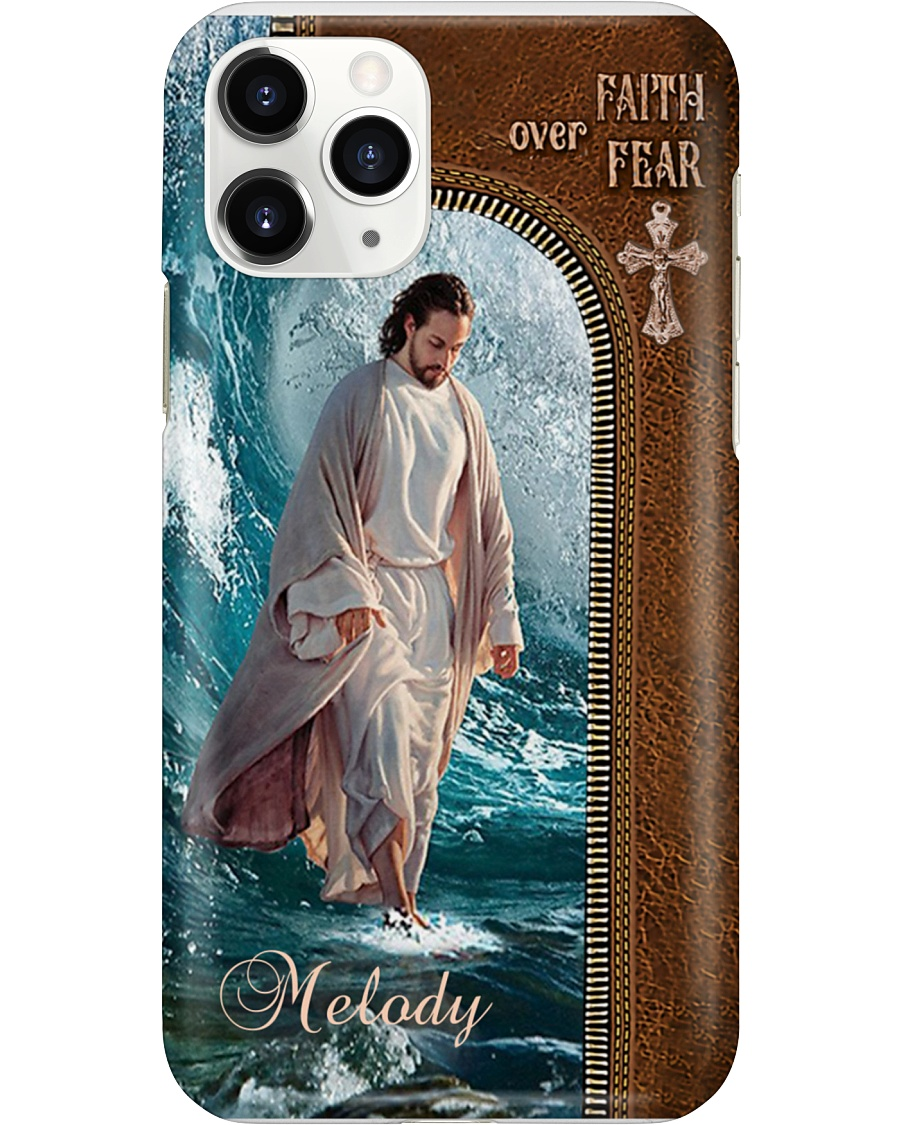 Personalized Jesus walking on water Faith over Fear phone case 2