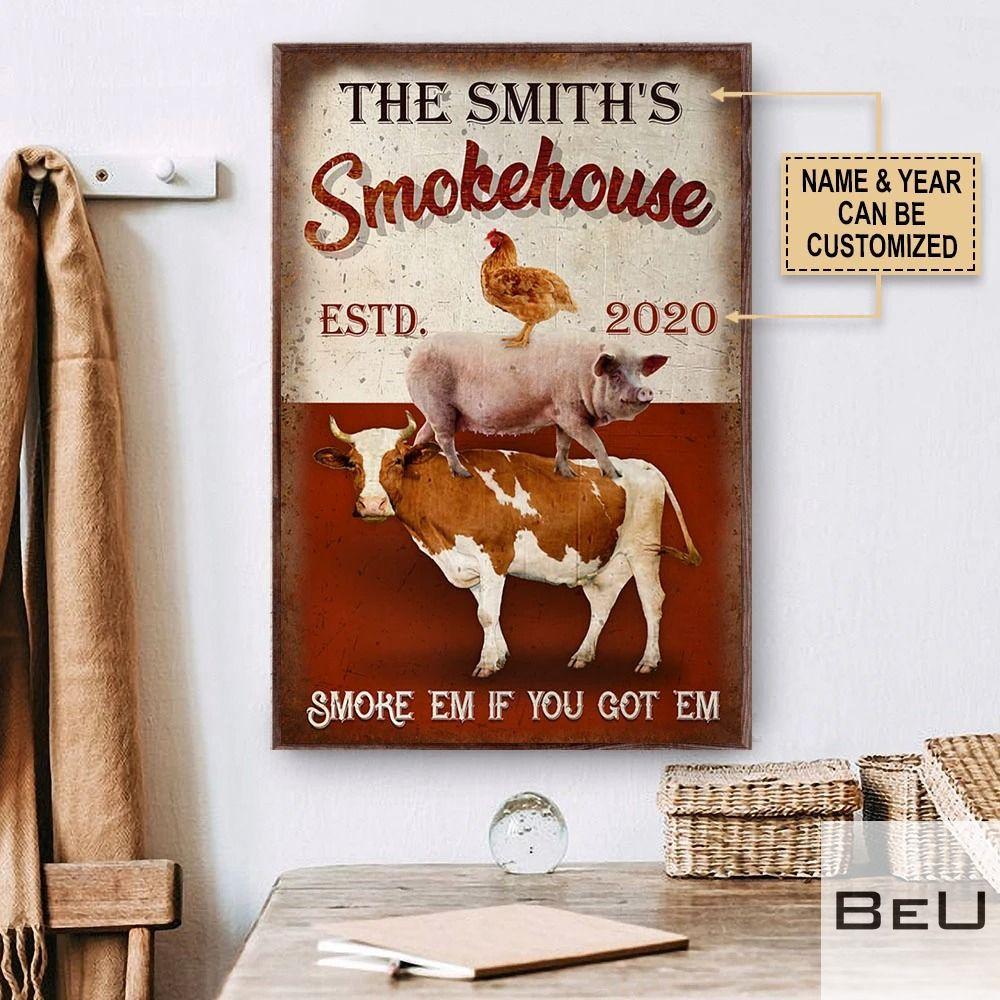 Personalized Smokehouse BBQ Smoke 'em if you got 'em poster