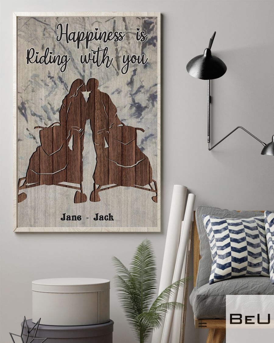 Personalized Snowmobile Happiness Is Riding With You Poster2
