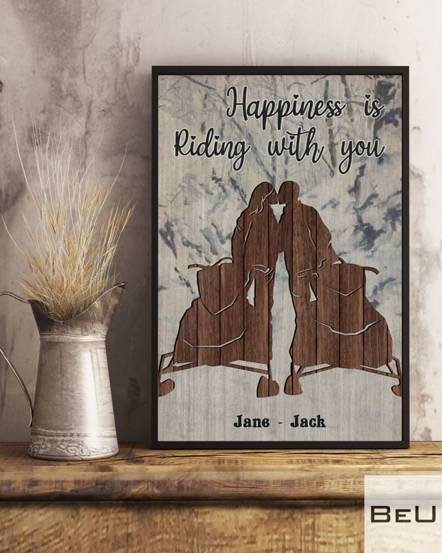 Personalized Snowmobile Happiness is riding with you posterv