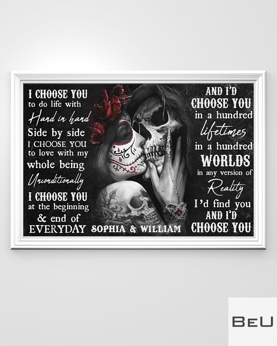Personalized Sugar Skull Couple I Choose You Poster3