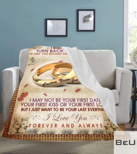 Personalized To my wife i wish i could turn back the clock fleece blanket3